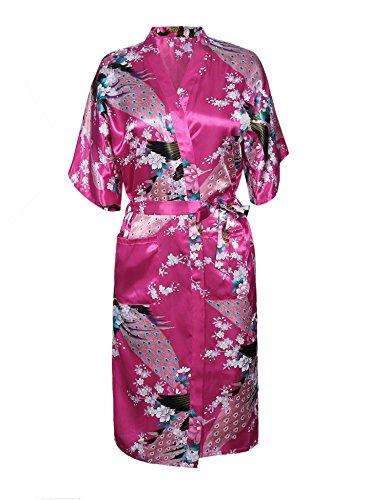 Kimono Satin-gürtel (Aibrou Damen Satin Morgenmantel Kimono Lang Bademantel Schlafanzug Negligee Nachthemd Nachtwäsche Unterwäsche V Ausschnitt Mit Gürtel, Gr. L, Farbe: X-Rot(Pfau))
