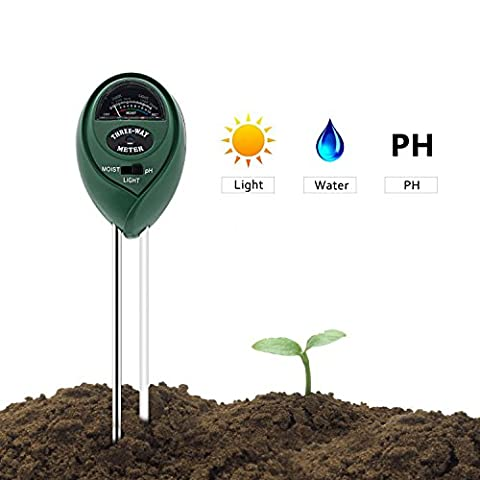 Soil Tester, DEEPOW 3-in-1 Soil Moisture Meter, Light Tester and Soil PH Tester kit, Sunlight and PH Tester with PH Acidity Hydrometer for Garden, Farm, Lawn, Indoor & Outdoor (No Battery