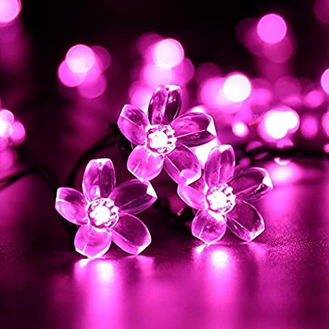 Solar Flower Solar String Lights ,Stillshine - 50 LED Waterproof Peach Blossom Christmas Decorative Lamp for Outdoor,Lawn, Patio, Garden, Home, Wedding, Xmas Tree New Year Party (Pink)