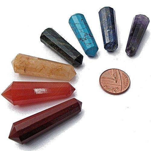 7 chakra baguettes de sante, sept bâtons de pierres semi précieuses aux couleurs des chakras principaux, avec pochette