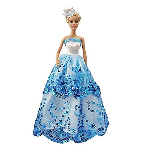 MOONBROOK Prinzessin-Abend-Partei-Kleidung trägt resse Spitze mit Pailletten für Barbie-Puppe des Mädchens Geburtstags-Geschenk blau