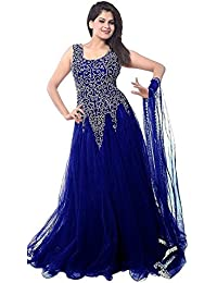 Rangrasiya Women's Gown Latest Party Wear Design Net Embroidery Semi Stitched Free Size Salwar Suit Dress Material...