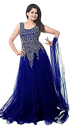 Best Offer Sale on Today in Anarkali with Amazon Prime Day Lady Zone Women's Net Gown Dress Material (Blue Net Gown _Blue_)