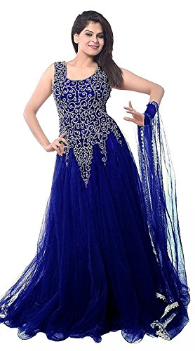 Best Offer Sale on Today in Anarkali with Amazon Prime Day Lady Zone Women\'s Net Gown Dress Material (Blue Net Gown _Blue_)