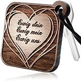 schenkYOU® HEARTBREAKER Schlüsselanhänger mit persönlicher Gravur aus echtem Holz - Ihr Wunschtext - Anhänger mit Ihren Text -Herz, Name, Sternzeichen, Sprüche, Initialen, Logo uvm.