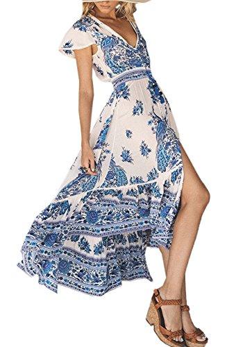 YUPOLB Kleider Damen V Schnitt Kappenhülse Kleid Cocktailkleid Partykleider Ballkleid Bohemian...