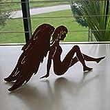 SAREMO Rost Engel sitzend, mit ausgebreiteten Flügeln, H ca. 40 cm