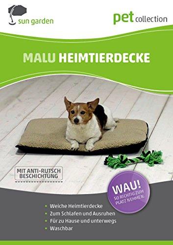 Homeoutfit24 Malu Hundedecke M 100 x 70 x 5 cm braun beigewaschbar weich Plüsch kuschelig Fell Bezug Hundebett Hundematte Hundekissen - 5