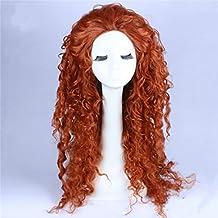 TF Princesa Cosplay Pelucas largas rizadas peluca disfraz marrón oscuro ondulado pelo accesorios para niñas