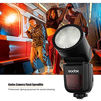 GODOX V1F Professional Camera Flash Speedlite Speedlight Round Head Wireless 2.4G Fresnel Zoom for Fujifilm X-Pro2 X-T20 X-T2 X-T1 GFX50S GFX50R Camera + AK-R1 Pocket Flash Light Accessories Kit
