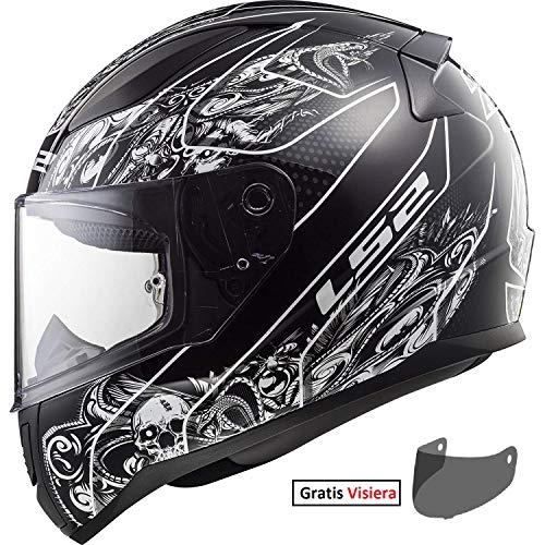 CASCHI MOTO LS2 FF353 Rapid Casco Integrale Moto Touring Racing Full Face, integrali, Casco Sportivi con Gratis Visiera (CRYPT Nero Bianco,M)