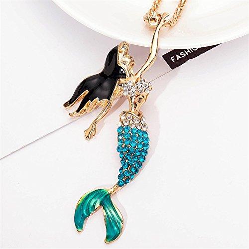 Driverder Exquisite und schöne Halskette Kleines Mädchen Meerjungfrau Anhänger Halskette Schmuck Kollektionen Charm Halskette Multicolor ()