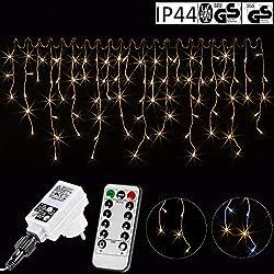 VOLTRONIC® 600LED Eisregen Lichterkette für innen und außen, Farbe: warmweiß, GS geprüft, IP44, mit 8 Leuchtmodi/Fernbedienung/Timer