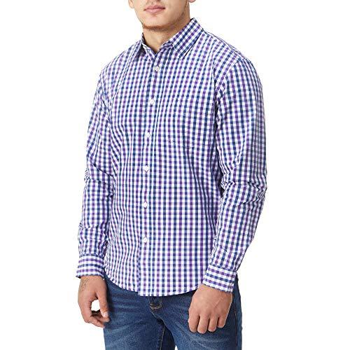 Charles Wilson Originals Kariertes Gingham Langarm Freizeithemd (Large, Purple & Navy)
