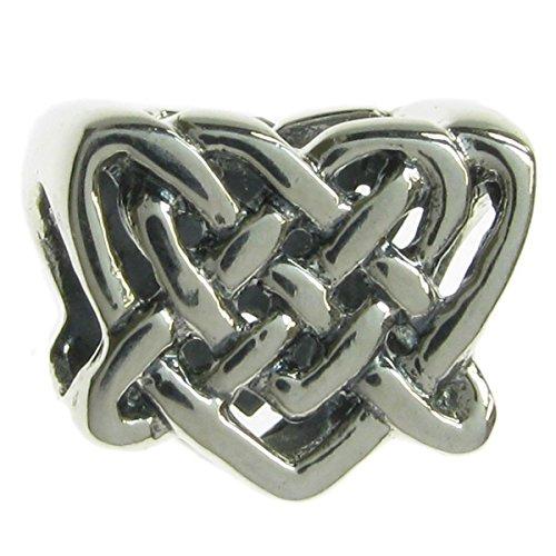 Keltischer Liebesknoten Herz Sterling Silber Perle für europäische Charm-Armbänder