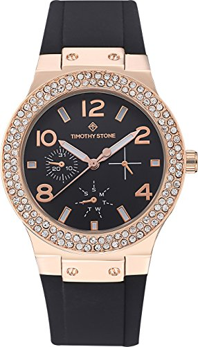 Timothy Stone FAÇON SILICONE Rose Gold/Black Women's Design Watch 39mm