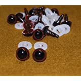 Pack of 5 Pairs - Brown Eyes with Plastic Backs - 12mm - Safety Eyes for Soft Toy or Teddy Bear Making