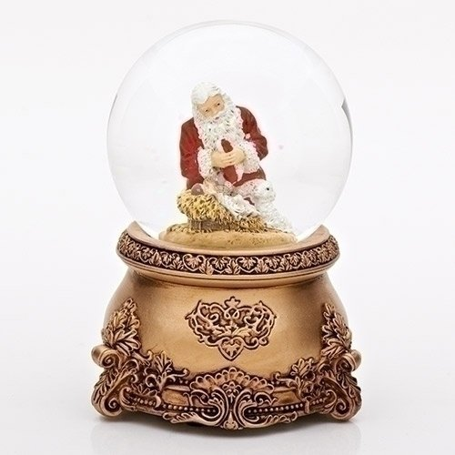 Cristal de rodillas Santa Musical Glitterdome antiguo Navidad 304608