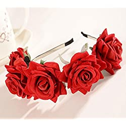 CHSYOO Diadema Roja Diadema Rosa Señoras Flor Diadema Chica Flor Tiara para la Novia de La Boda Fiesta de Cumpleaños de La Boda Fiesta de Los Niños