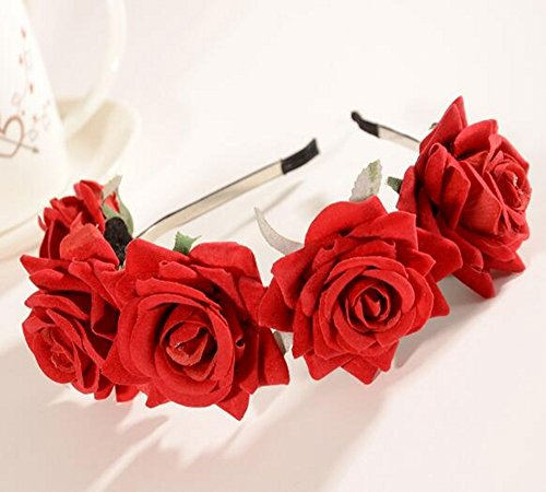 CHSYOO Diadema Roja Diadema Rosa Señoras Flor Diadema