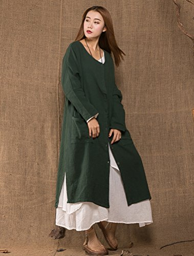 MatchLife Femme Buton Chemisier Manteau avec Poches Claret