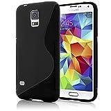 NALIA Handyhülle für Samsung Galaxy S5 Mini, Hülle Ultra-Slim Silikon Case, Dünne Crystal Schutzhülle, Etui Handy-Tasche Back-Cover Bumper, TPU Gummihülle für Samsung S5 Mini Phone - S-Line Schwarz