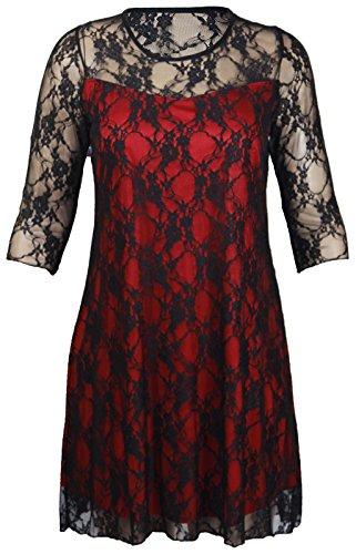 Nuovo Womens Pizzo Floreale Manica Corta Fiorata Da Donna Foderato Con motivi Elasticizzato T-Shirt Tunica Da Festa Maglia Taglie Forti - Red_Black-Long