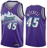 Fan Trikot Basketball NBA 45 Donovan Mitchell Utah Jazz Klassische Trikotuniform Unisex Fans Atmungsaktiv Bestickte Netzsport-T-Shirts,Purple-L