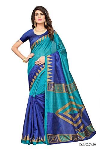 Oomph! Women's Bhagalpuri Silk Printed Sarees Daily Wear - Colour Blocked -...