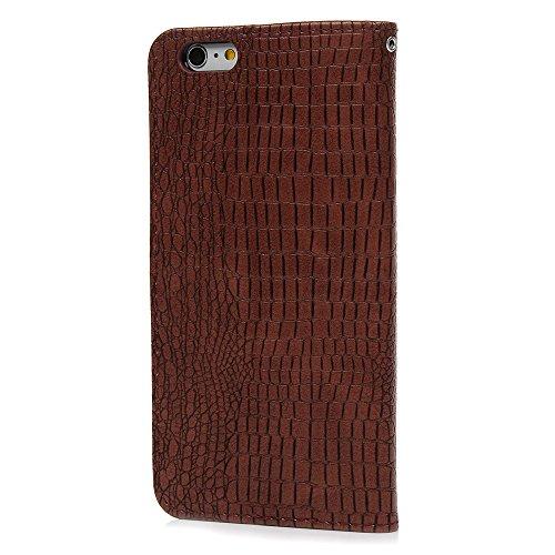 MAXFE.CO Schutzhülle Tasche Case für iPhone 6 6S PU Leder Flip Tasche Cover mit Zipper im Ständer Book Case / Kartenfach Knallblau Rotbraun