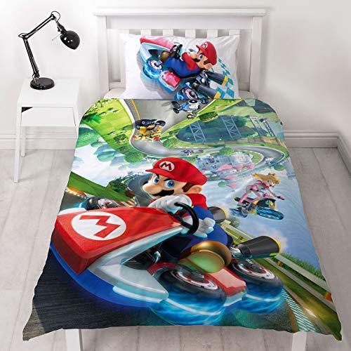 Unbekannt Super Mario Nintendo Kart Einzelbett-Bettbezug, offizielles Lizenzprodukt, wendbar, zweiseitiges Gravity-Design mit passendem Kissenbezug