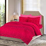 Bombay Dyeing Mimosaa 100 TC Cotton Double Bedsheet with 2 Pillow Covers - Pink
