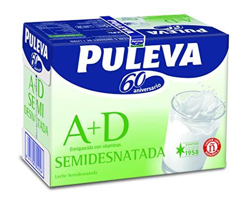 Puleva Leche Semidesnatada Vitaminas A+D - Pack de 6 x 1 l - Total: 6 l