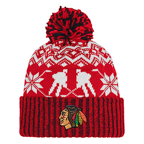 adidas Chicago Blackhawks NHL Snowflake Player Pom Knit Hat -