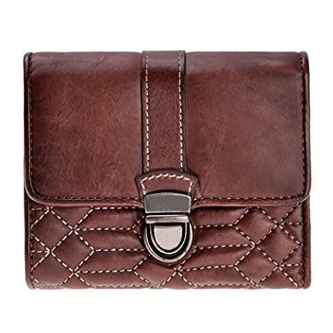 ZLYC Retro Style Handmade Dip-dye Leather Quilted Fold Over Purse with Push Lock