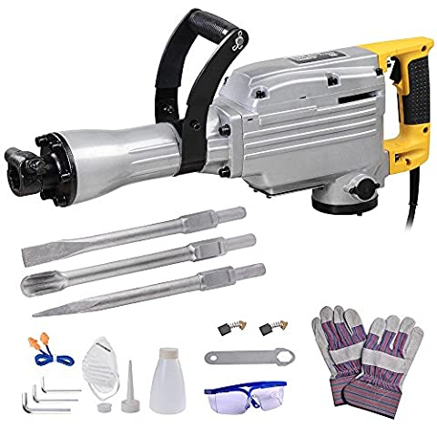 ReaseJoy 1700W Electric Demolition Jack Hammer Chisel Concrete Road Breaker Double Insulated with Steel Case