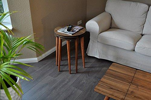 B-Ware / Design Beistelltisch Set Carl Svensson LA-1nu Walnuss Nussbaum 3-teilig -