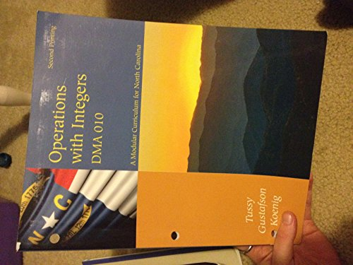 Operations with Integers DMA 010 - A Modular Curriculum for North Carolina - 2nd Printing