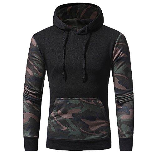 IMJONO Jacket,2019 Neujahrs Karnevalsaktion Herrenkleidung Men es Camouflage Long SleevePrint Hooded Sweatshirt Tops Jacket Coat Outwear(Large,Schwarz) Camouflage Cotton Sweatshirt