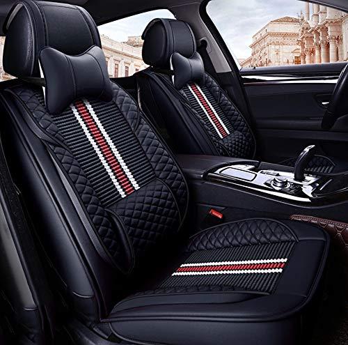 Universelle Autositzbezüge für Vorder- und Rückseite sowie Autositzkissen aus Eisseide für die Vierjahreszeiten-Universalsitzbezüge aus rutschfestem Wildleder von BMW Toyota,Black