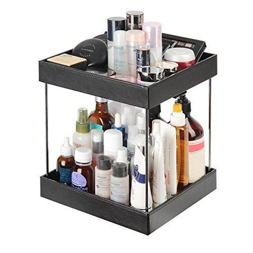 JackCubeDesign 360 Rotatif En Cuir Maquillage Cosmétiques Organisateur Affichage Rack Vernis À Ongles Plateau De Rangement Plateau Carrousel (2 Rangée, Bois, 24.2 x 24.2 x 28.8 cm) -: MK221A
