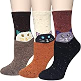 Chalier 3 Pärchen Damen Wollsocken, Cartoon Süße Tiere Design & warme weiche Baumwolle Socken
