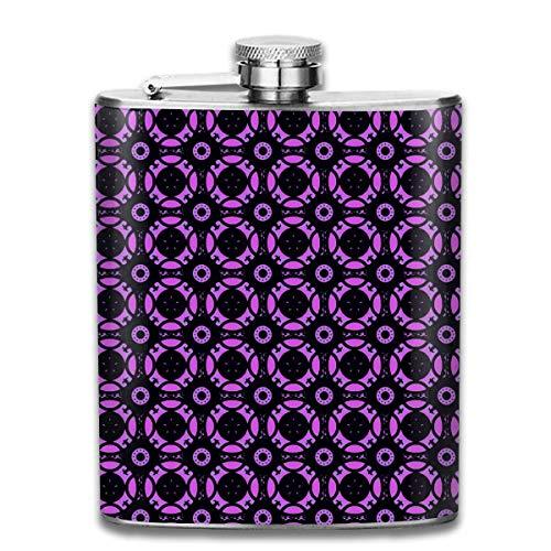 Zcfhike 7 oz Edelstahl Flask glasmalerei lila Mode tragbare Edelstahl flachmann Whisky Flasche für männer und Frauen 7 oz - Lila Glasmalerei
