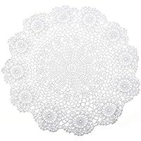 Napperons Dentelle Crochet Coton Tissu Rond Table Cuisine Décor - 37cm