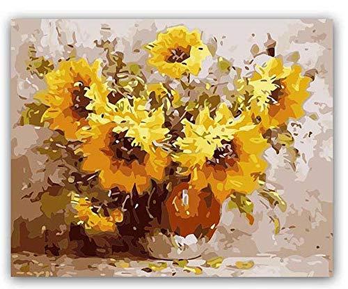 PAAANING DIY farbige Bilder nach Zahlen mit Farben Hibiskus-Pfingstrosen-Dorade-Blumen-Zeichnungs-Malen nach Zahlen gestaltete nach Hause