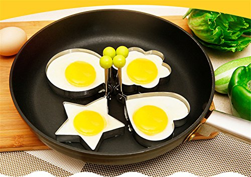 Interesting® 4Pcs Kochen Küchenhelfer Edelstahl Spiegelei Shaper Ring Pancake-Form-Form