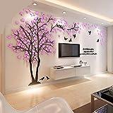 DIY 3D Riesiger Baum Paar Wandtattoos Wandaufkleber Kristall Acryl Malen Wanddeko Wandkunst (XXL, Rosa, Recht)