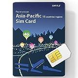 GMYLE GData - Tarjeta SIM Recargable 4G para Asia Pacífico (2 GB, 10 días, 15 países y regiones)