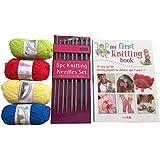 Premium–Cesta para tejer incluye libro de, de lana y agujas de plástico. Todo lo que necesitas para empezar.