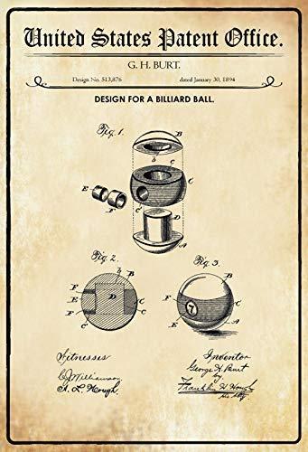 US Patent Billard Ball 1894 Blechschild Schild Blech Metall Metal Tin Sign 20 x 30 cm - Patent-metall